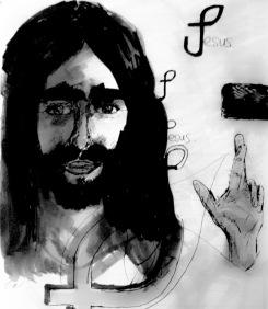jesus b_w sketch